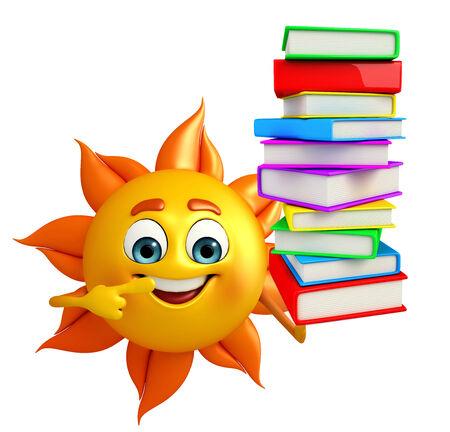 太阳的漫画人物与书堆的