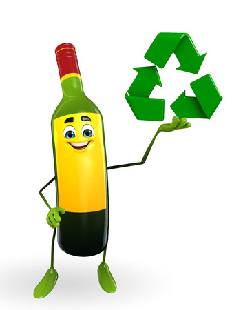Cartoon Character of Wine Bottle with recycle icon photo