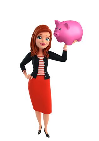 Illustration of corporate lady with piggy bank illustration