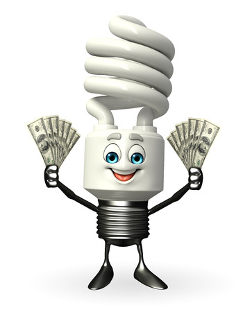 fuze: Cartoon Character of CFL with dollars Stock Photo