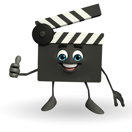 Cartoon Character of Clapper Board with best sign photo