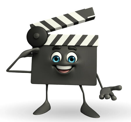 Cartoon Character of Clapper Board with salute pose photo