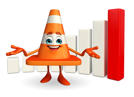 road works ahead: Cartoon Character of Construction cone with business graph