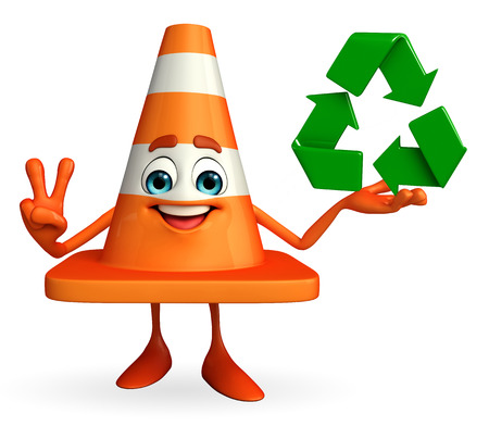 road works ahead: Cartoon Character of Construction cone with recycle icon Stock Photo