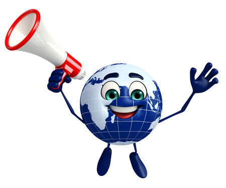 ozone: Cartoon Character of Globe with Loudspeaker