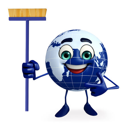 cleaning planet: Cartoon Character of Earth with Cleaning mop Stock Photo