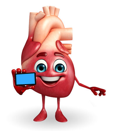 achivement: Cartoon Character of heart with mobile