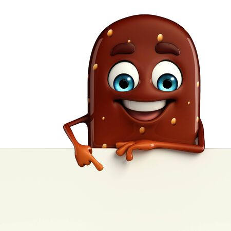 Cartoon Character of Candy with sign photo