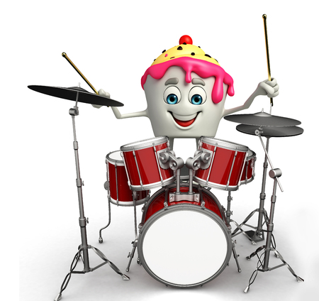 steel drum: Cartoon Character of Ice Cream with drum set Stock Photo
