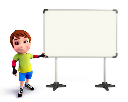 Illustration of cute boy with display board