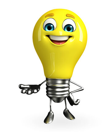 fuze: Cartoon Character of light bulb with holding pose Stock Photo
