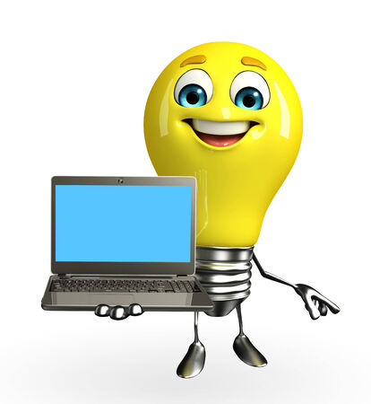 Cartoon Character of light bulb with laptop Stock Photo