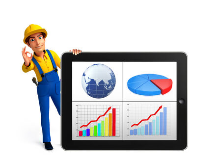 chrome man: Illustration of young mechanic with business graph