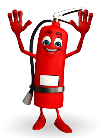 disaster prevention: Cartoon Character of fire extinguisher with happy pose