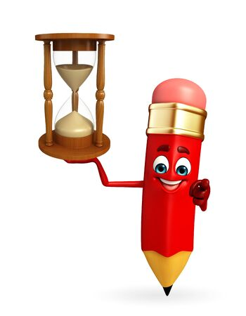 Cartoon Character of pencil with sand clock