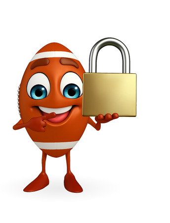 Cartoon Character of rugby ball with lock photo