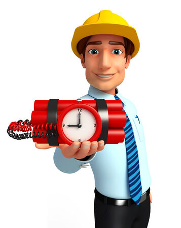 time bomb: Illustration of service man with time bomb Stock Photo
