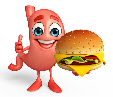Cartoon Character of stomach with burger photo