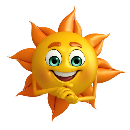 truthful: Cartoon Character of sun with promise pose