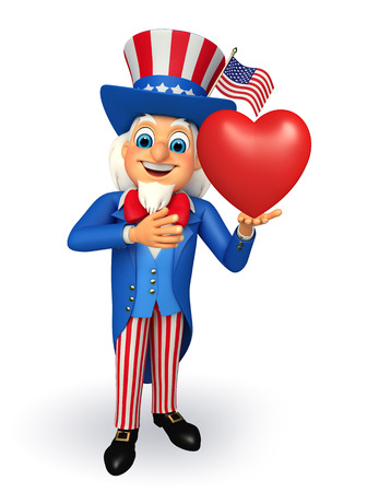 sam: Illustration of uncle sam with heart