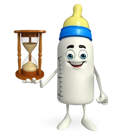 sand clock: Personaggio dei cartoni animati di biberon con l'orologio della sabbia