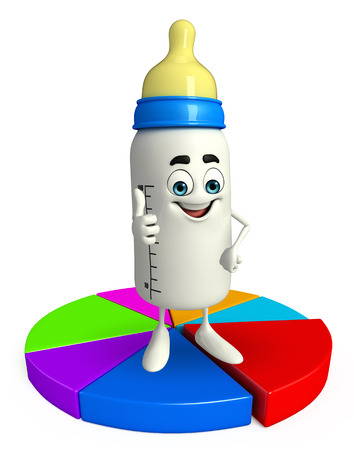 grew: Cartoon Character of baby bottle with Business graph