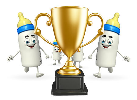 grew: Cartoon Character of baby bottle with trophy Stock Photo
