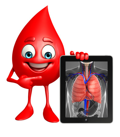 Cartoon Character of Blood Drop with lungs anatomy photo