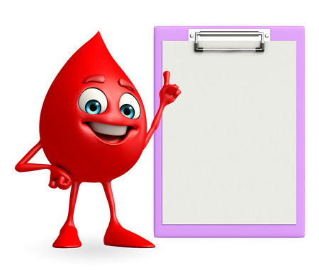 blood bank: Cartoon Character of Blood Drop with notepad Stock Photo