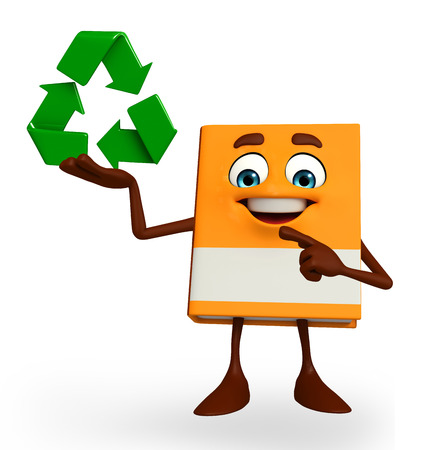 Cartoon Character of Book with recycle icon photo
