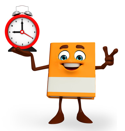 Cartoon Character of Book with table clock photo