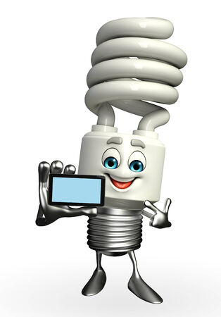 Cartoon Character of CFL with mobile
