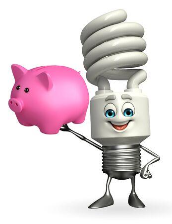 Cartoon Character of CFL with piggy bank Stock Photo