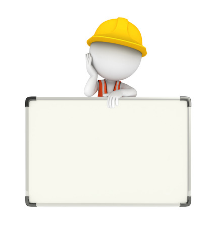 Illustration of young worker with display board illustration