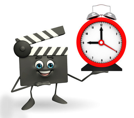 Cartoon Character of Clapper Board with table clock photo