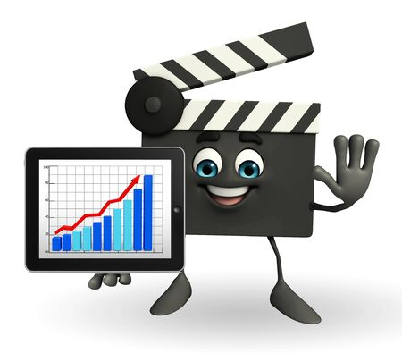 Cartoon Character of Clapper Board with business graph Stock Photo - 30009875