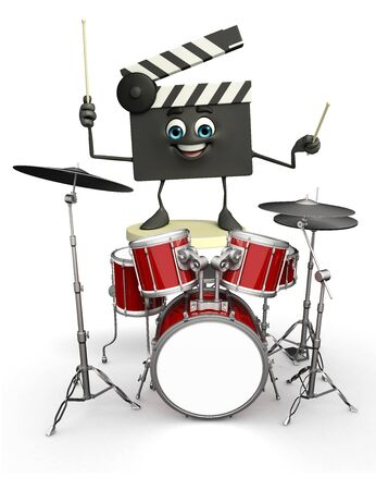 Cartoon Character of Clapper Board with drum set photo