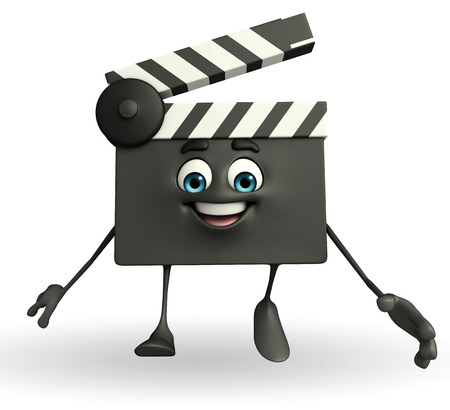 episode: Cartoon Character of Clapper Board with walking pose  Stock Photo