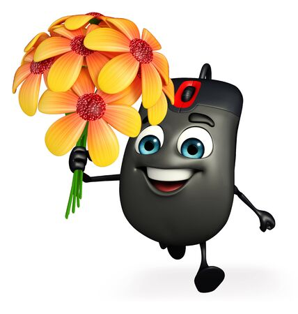 input device: Cartoon Character of Computer Mouse with flowers Stock Photo