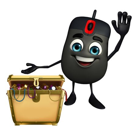 Cartoon Character of Computer Mouse with treasure box photo