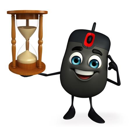 sand clock: Personaggio dei cartoni animati del mouse del computer con l'orologio della sabbia Archivio Fotografico