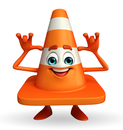 road works ahead: Cartoon Character of Construction cone with teasing pose
