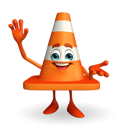 road works ahead: Cartoon Character of Construction cone