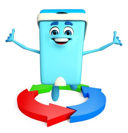 Cartoon Character of Dustbin with arrow photo