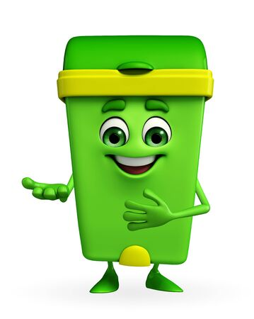 Cartoon Character of Dustbin with welcome pose