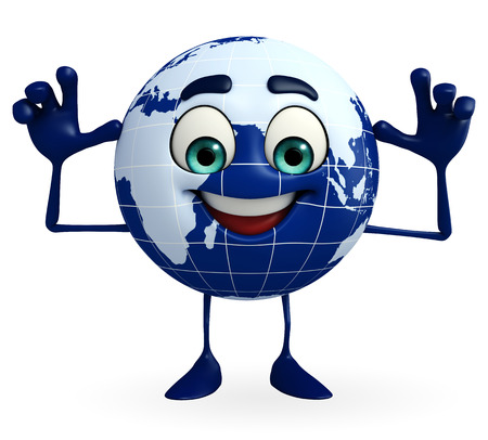 teasing: Cartoon Character of Earth is teasing pose Stock Photo