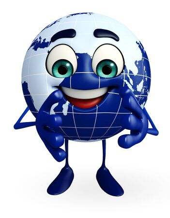 Cartoon Character of Globe is clapping photo
