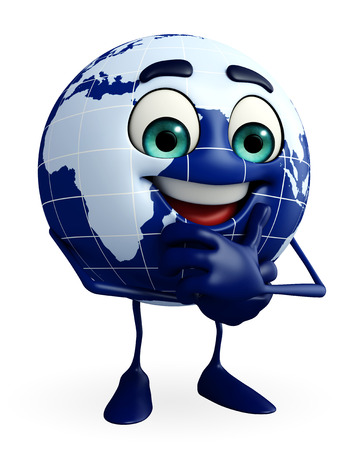 Cartoon Character of Globe with thinking pose photo