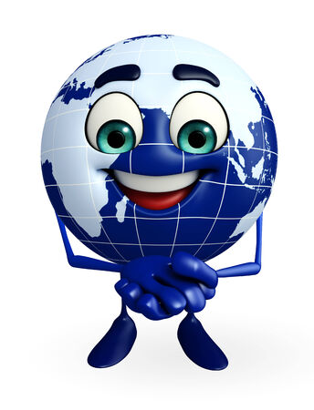 Cartoon Character of Globe with promise pose photo