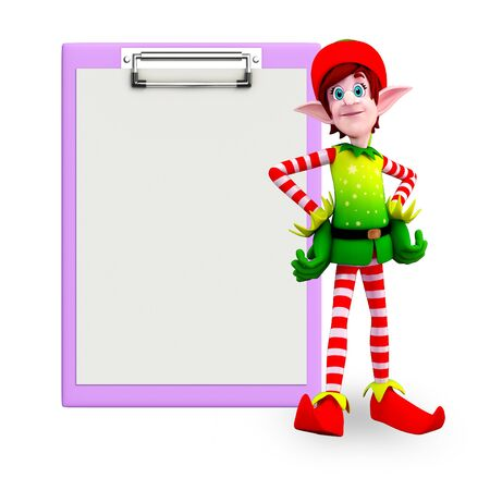 Cartoon character of elves with notepad photo